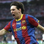 Barcelona's Messi celebrates a goal against Manchester United during their Champions League final soccer match at Wembley Stadium in London