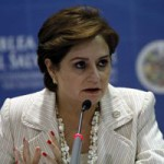 Mexico's Foreign Minister Patricia Espinosa speaks during a news conference at the 41st General Assembly of the Organisation of American States (OAS) in San Salvador
