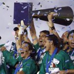 Mexico's team celebrates their victory over the U.S. in the CONCACAF Gold Cup final soccer match at the Rose Bowl in Pasadena
