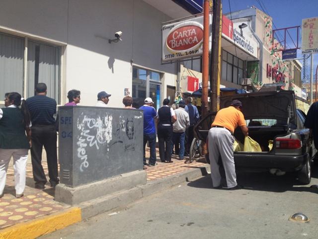 Así lucen los cajeros del centro de la ciudad de San Pedro esta quincena del denominado Buen Fin.